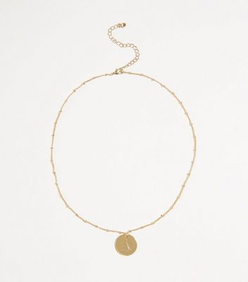 Gold Plated A Initial Pendant Necklace by New Look