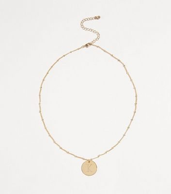 Gold Plated K Initial Pendant Necklace