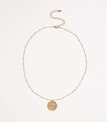 Gold Plated E Initial Pendant Necklace