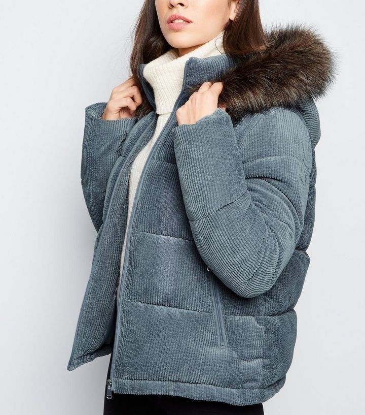 ad9f8b9b9 Pale Grey Corduroy Puffer Jacket Add to Saved Items Remove from Saved Items