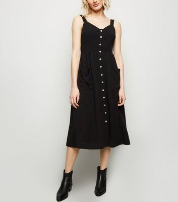 Black Pocket Front Button Through Midi Dress