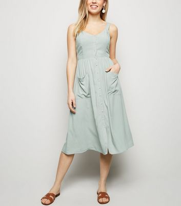 Mint Green Pocket Front Button Through Midi Dress
