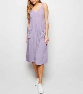 Lilac Pocket Front Button Through Midi Dress