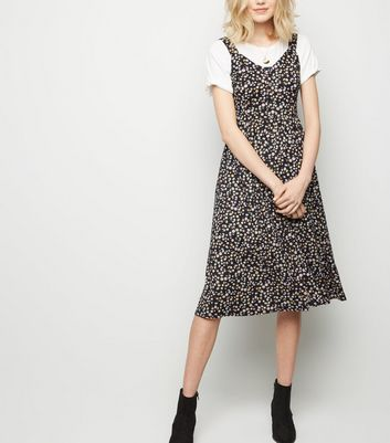 Black Floral Soft Touch Button Front Midi Dress