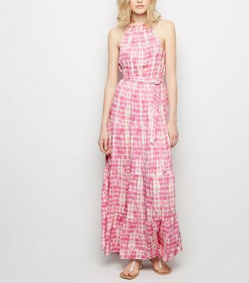 Pink Tie Dye Halterneck Maxi Dress