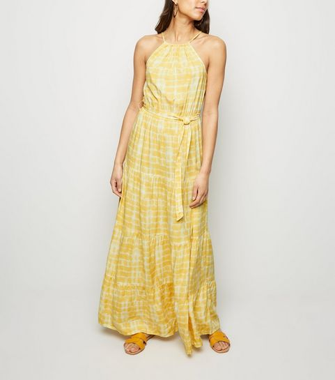a0d3e6df8151 ... Yellow Tie Dye Halterneck Maxi Dress ...