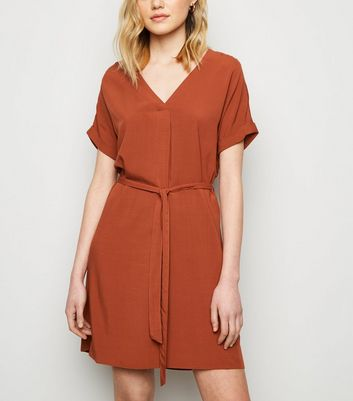 Rust V Neck Belted Tunic Dress