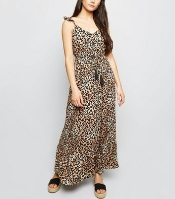Brown Leopard Print Button Front Maxi Dress