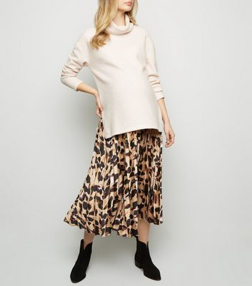 Maternity Brown Leopard Print Satin Midi Skirt