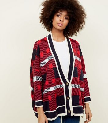 Blue Vanilla Red Check Cardigan
