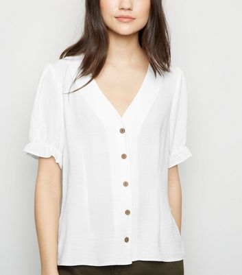 Off White Puff Sleeve Blouse