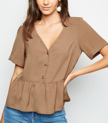Brown Button Front Peplum Top