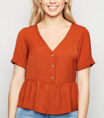 Rust Button Front Peplum Top