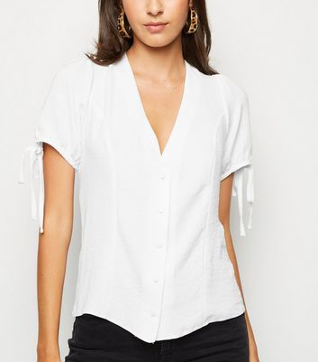 White Button Up Puff Sleeve Blouse
