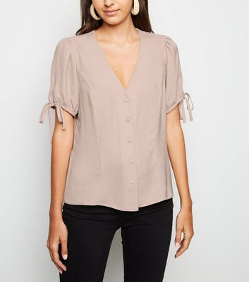 Pale Pink Button Up Puff Sleeve Blouse