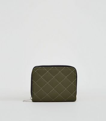 Khaki Nylon Quilted Card Holder