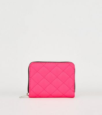 Pink Neon Nylon Quilted Card Holder