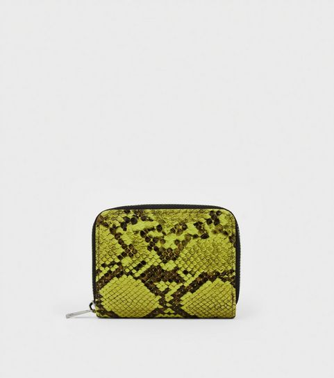 9dc719d02aa1 ... Green Neon Faux Snake Zip Around Card Holder ...