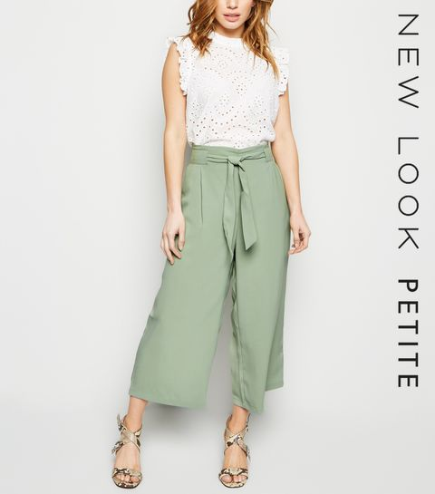 c77c598cd5 ... Petite Mint Green Tie Waist Cropped Trousers ...