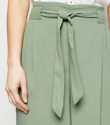 Petite Mint Green Tie Waist Cropped Trousers New Look