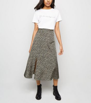Light Grey Leopard Print Satin Skirt