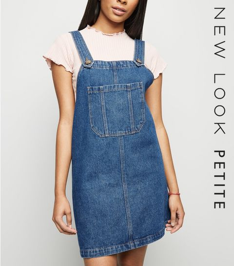 1bbcbf1e6a0 ... Petite Blue Pocket Front Denim Pinafore Dress ...