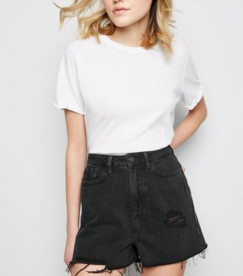 Tall Black Distressed Denim Raw Hem Shorts