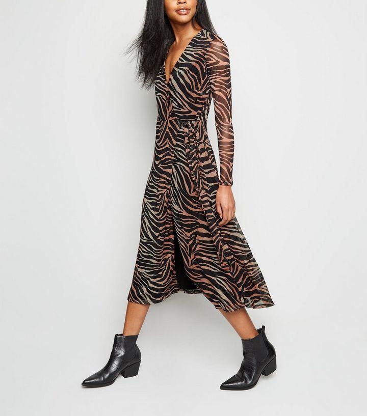 feb4e2f6cf Black Tiger Print Mesh Wrap Midi Dress