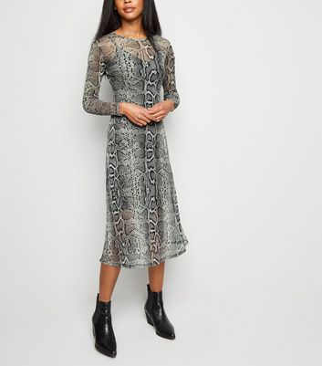 Light Grey Snake Print Mesh Midi Dress