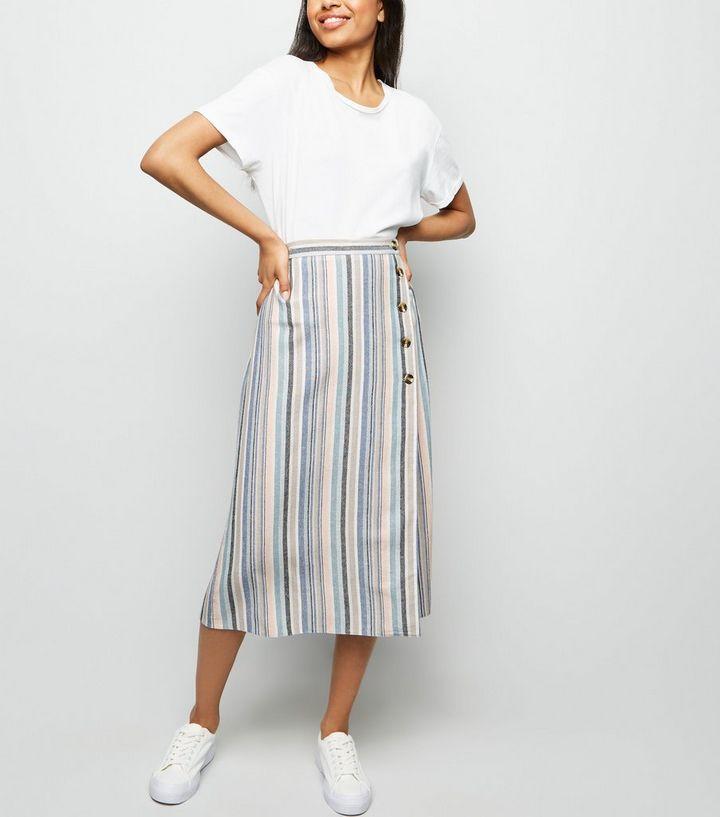 7935225dd534 Petite Pink Stripe Linen Look Button Side Midi Skirt | New Look