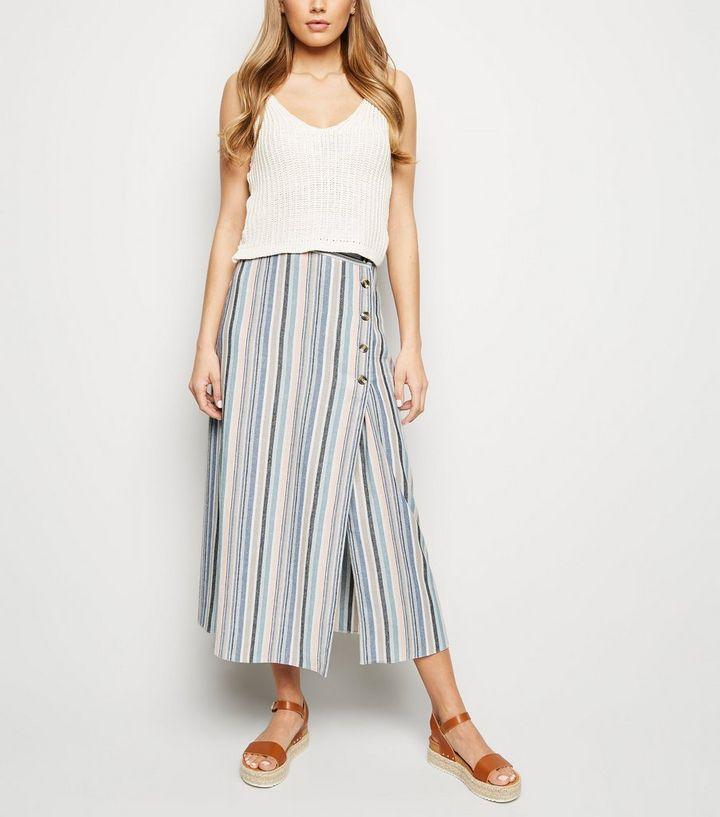 da336eef84c Tall Pink Stripe Linen Look Button Side Midi Skirt