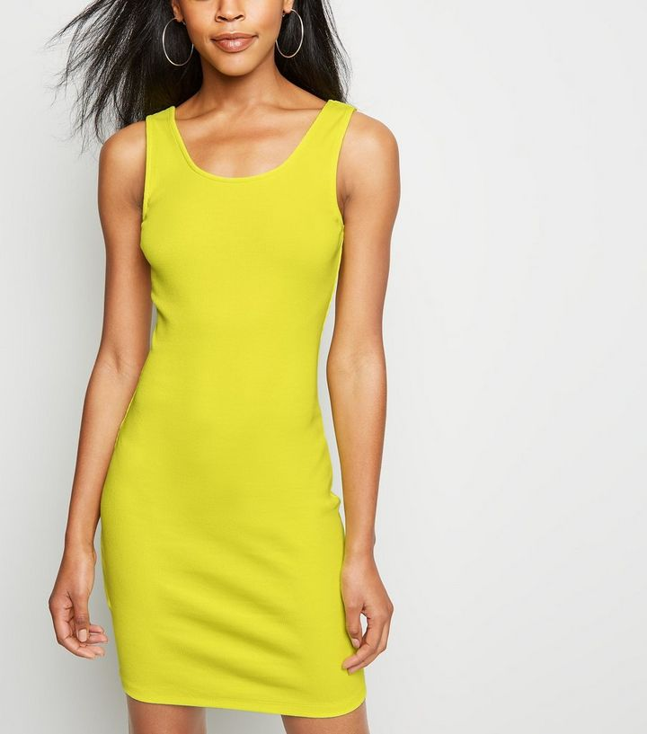 4308e2be18487 Green Neon Ribbed Bodycon Dress | New Look