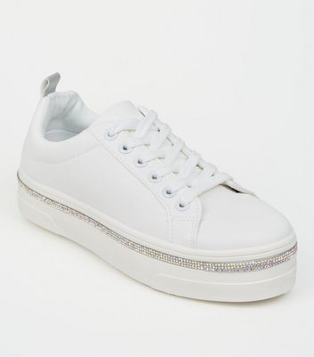 Girls White Diamanté Trim Flatform Trainers