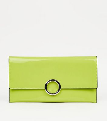 Green Neon Patent Clutch Bag