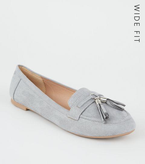 e7d9814ee41b ... Wide Fit Grey Suedette Tassel Trim Loafers ...
