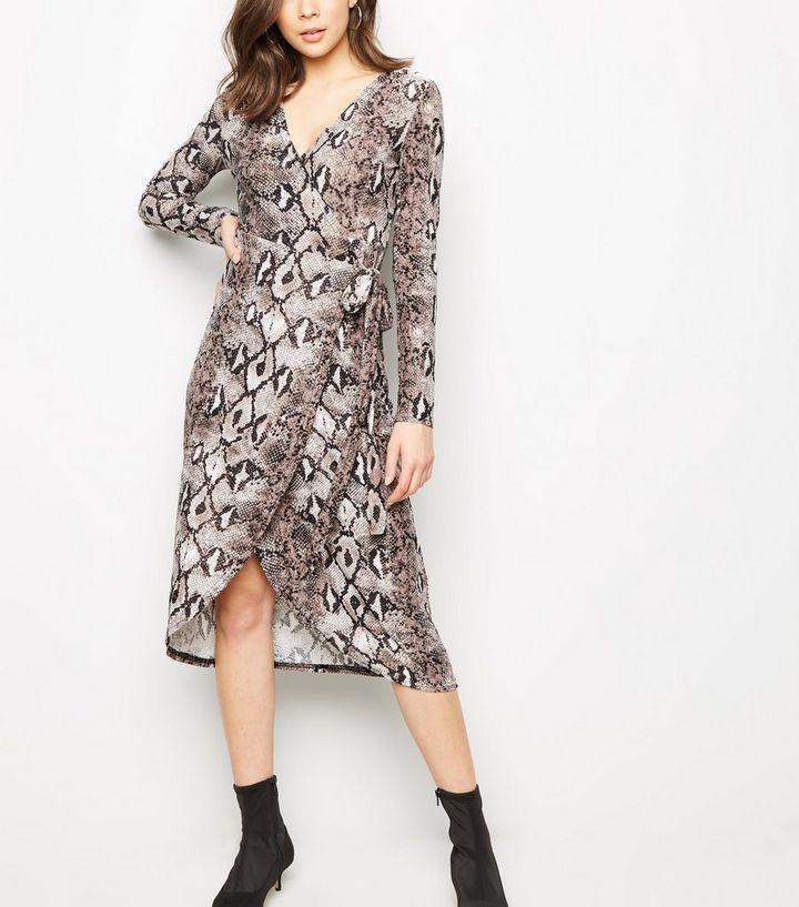 797de1f4be5 Blue Vanilla Grey Snake Print Midi Wrap Dress
