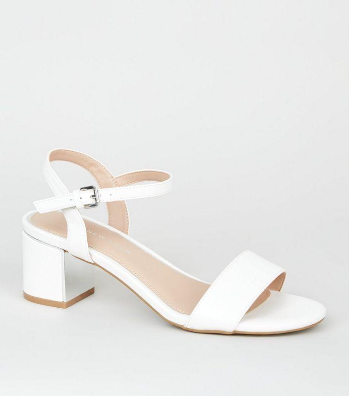 3c2640cb3e04 Wide Fit White Strap Metal Heel Sandals