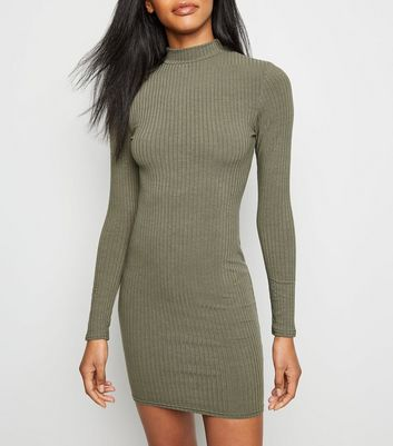 Khaki High Neck Ribbed Bodycon Dress