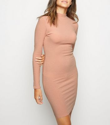 Pink High Neck Ribbed Bodycon Dress