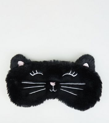 Black Cat Fluffy Eye Mask