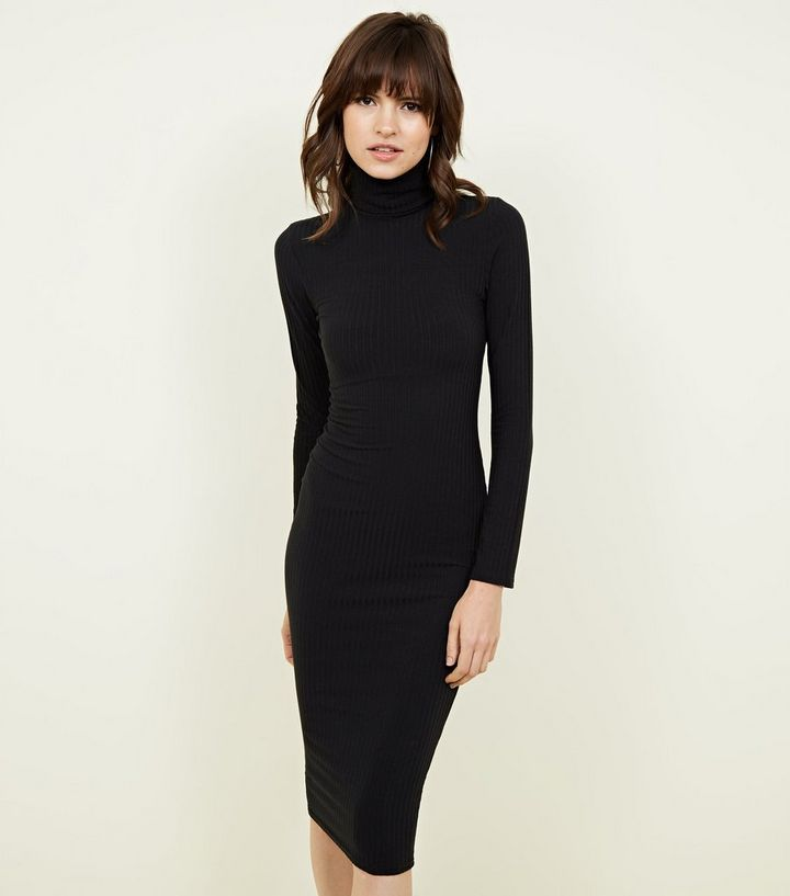 336c143650 Black Roll Neck Midi Bodycon Dress