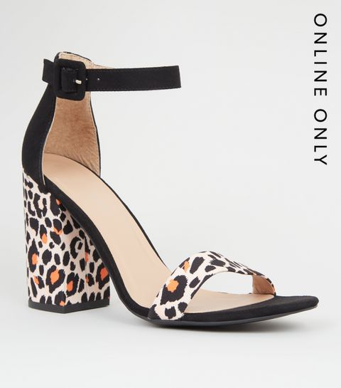 3c16750d131 ... Orange Leopard Print 2 Part Block Heels ...