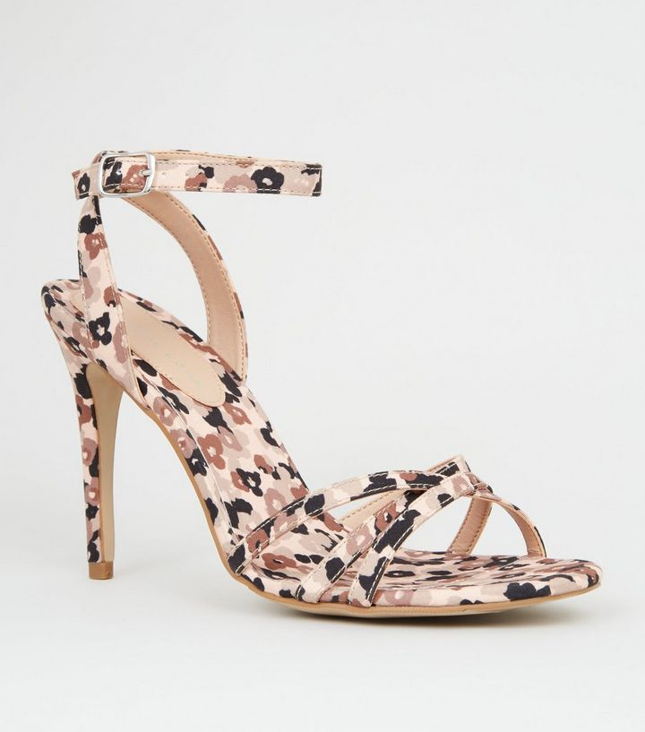 6ed77ff249cb1 Brown Satin Floral Strappy Stiletto Heels | New Look