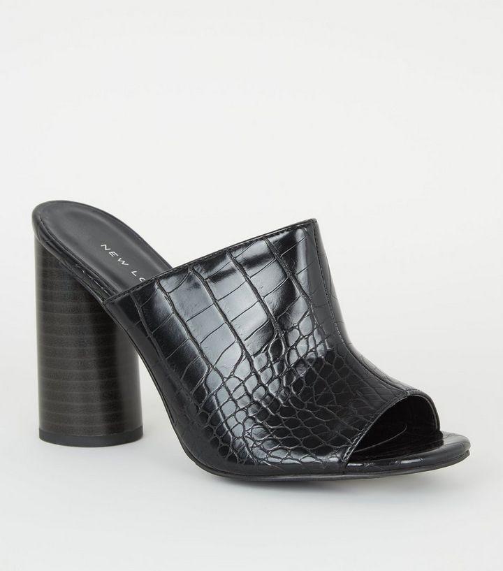 2735fae57ea86d Black Faux Croc Circular Block Heel Mules