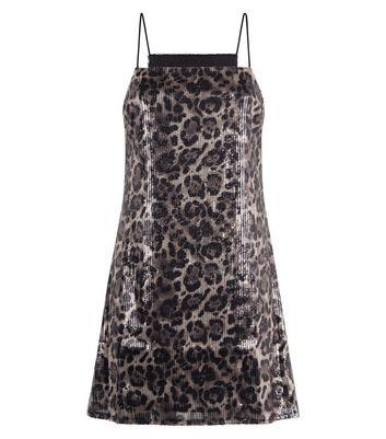 shop for Pink Vanilla Sequin Leopard Print Dress New Look at Shopo
