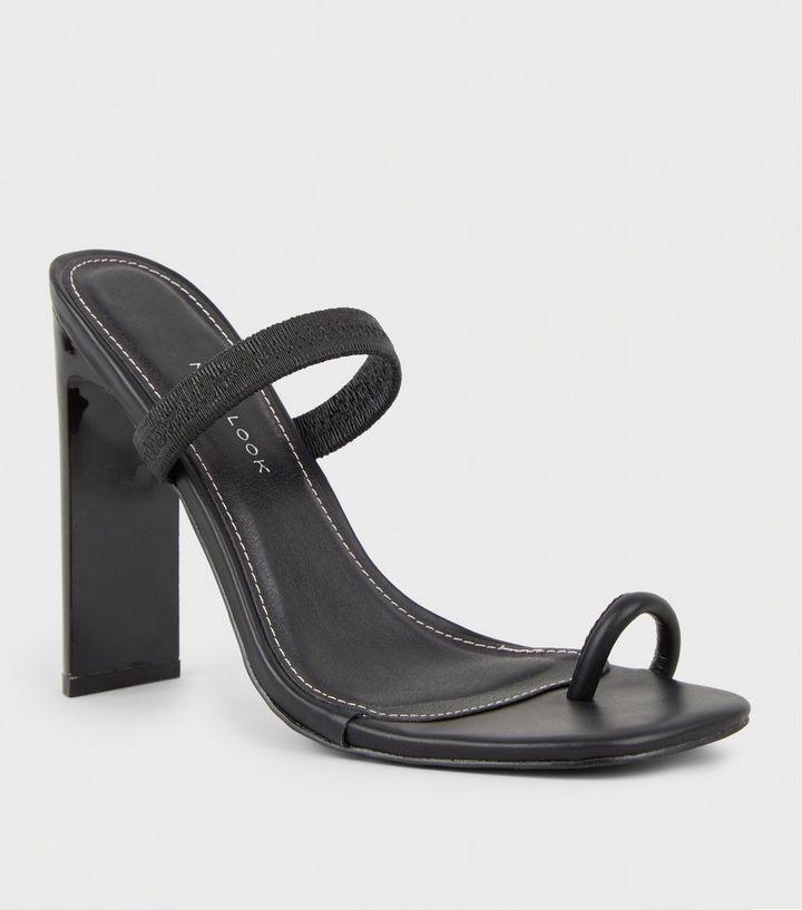 bceec49998b Black Strap Square Toe Slim Block Heels