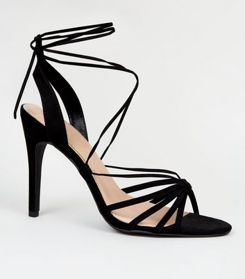 Black Suedette Thin Strappy Stilettos