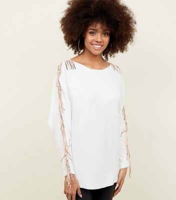 Blue Vanilla Off White Sequin Tassel Sleeve Jumper