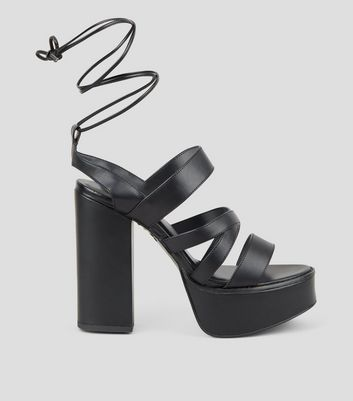 Black Leather-Look Ankle Tie Platform Heels