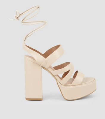 Nude Leather-Look Ankle Tie Platform Heels